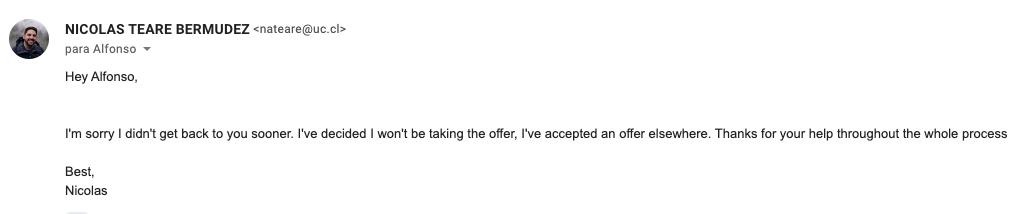 Este es el mail que mandé para rechazar una oferta para ir a trabajar a Facebook 👋🏻.